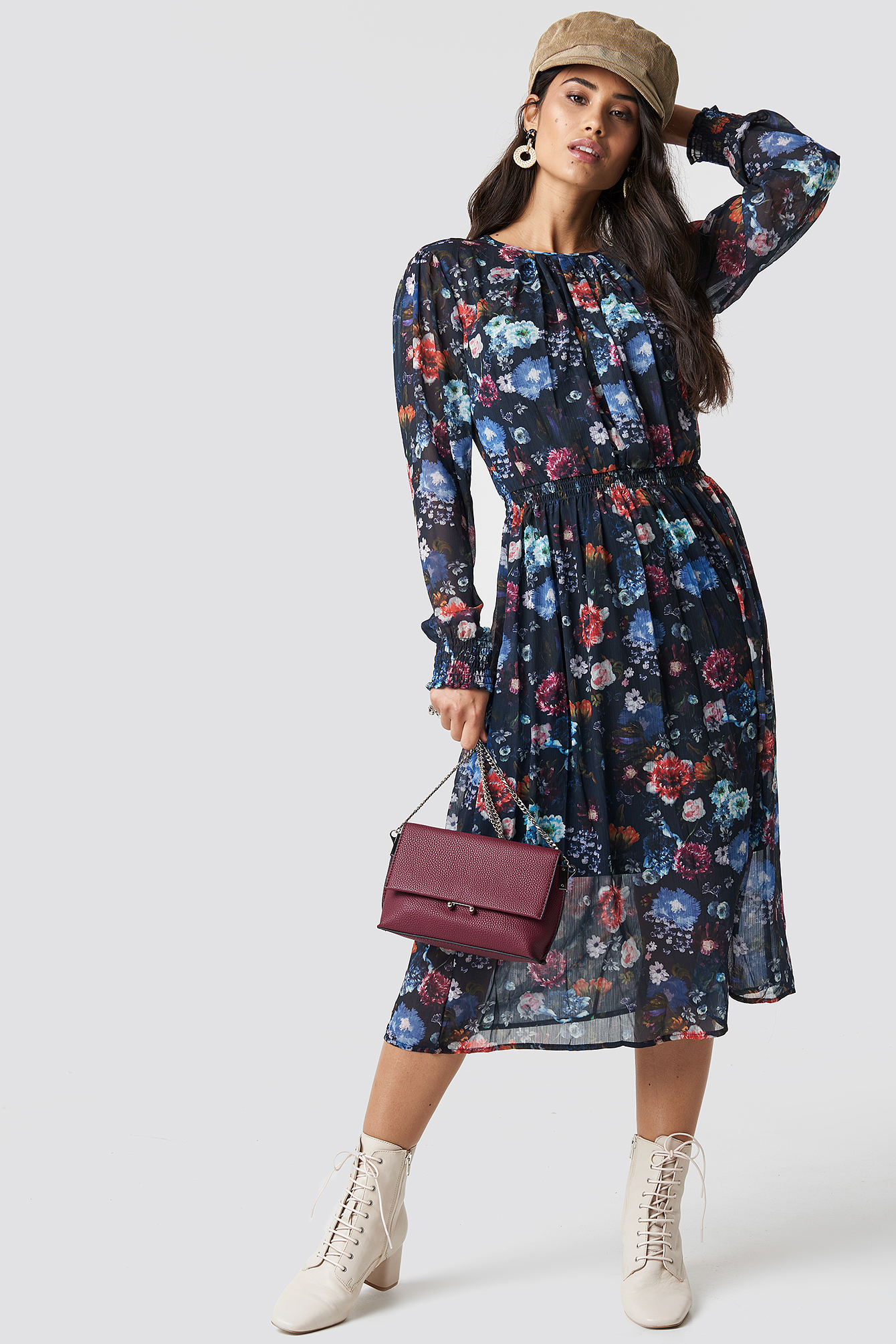 TOP SECRET Long Flower Dress - Multicolor, Navy in Multicolor,Navy