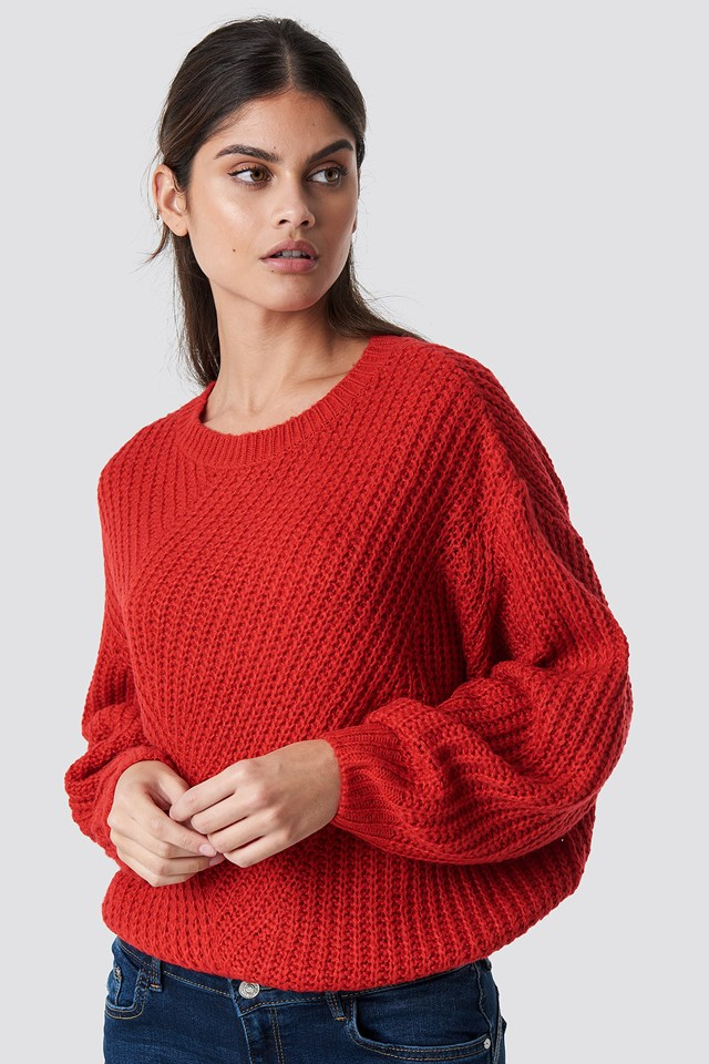 Wide Sleeve Knitted Sweater Red