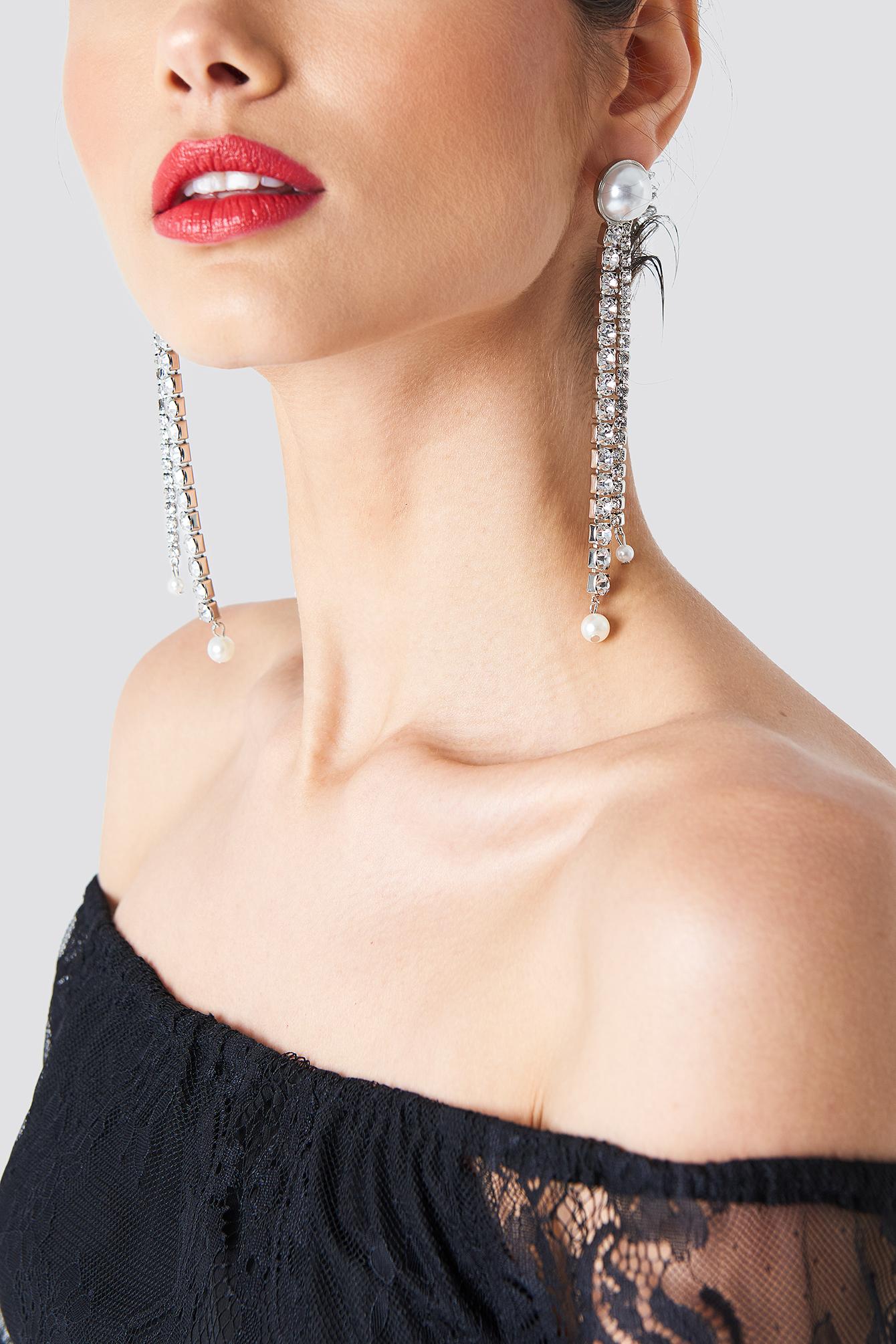 Hanging Rhinestone Earrings NA-KD.COM