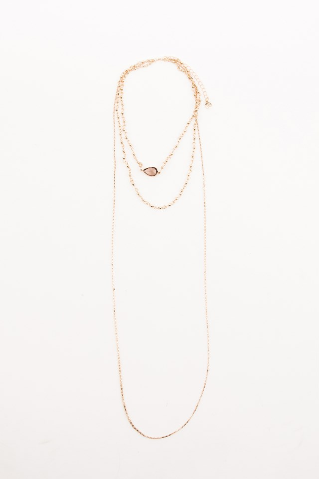 Chain Layered Stone Choker Gold/Brown