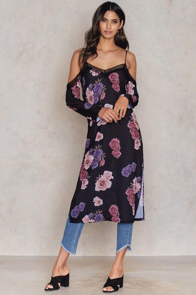 Cold Shoulder Midi Slip Dress Dusty Roses