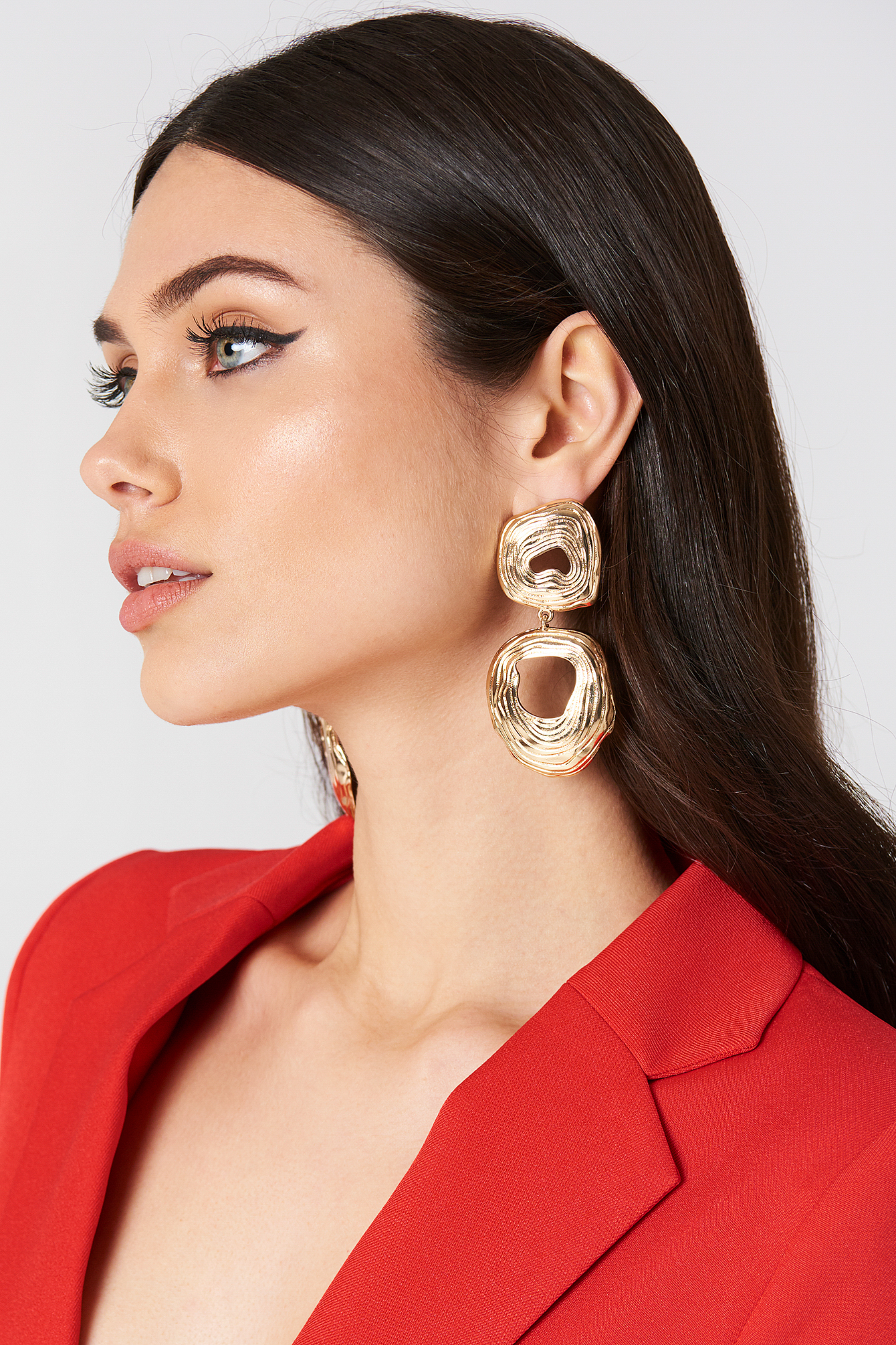 tranloev -  Double Round Hanging Earrings - Gold