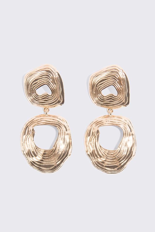 Wiszące okrągłe kolczyki Double Gold