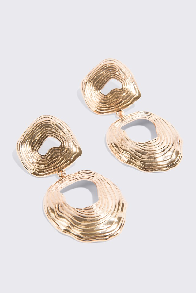 Double Round Hanging Earrings Gold