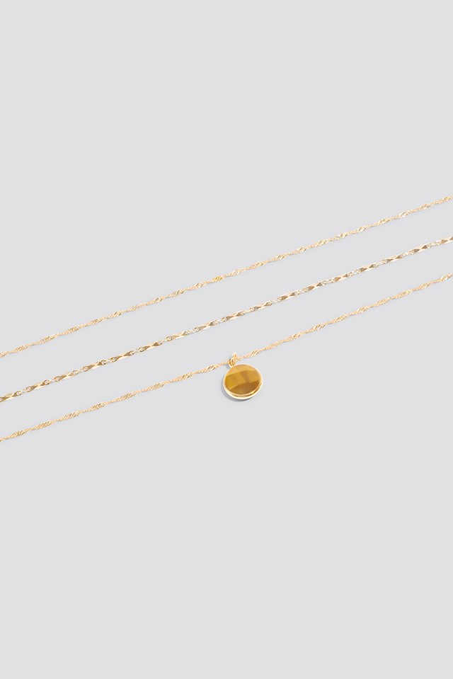 Layered Stone Necklace Gold/Brown