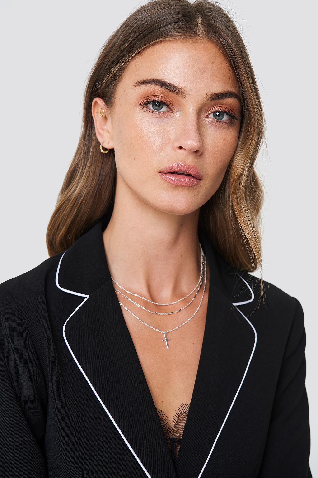 TRANLOEV Layered Cross Necklace - Silver