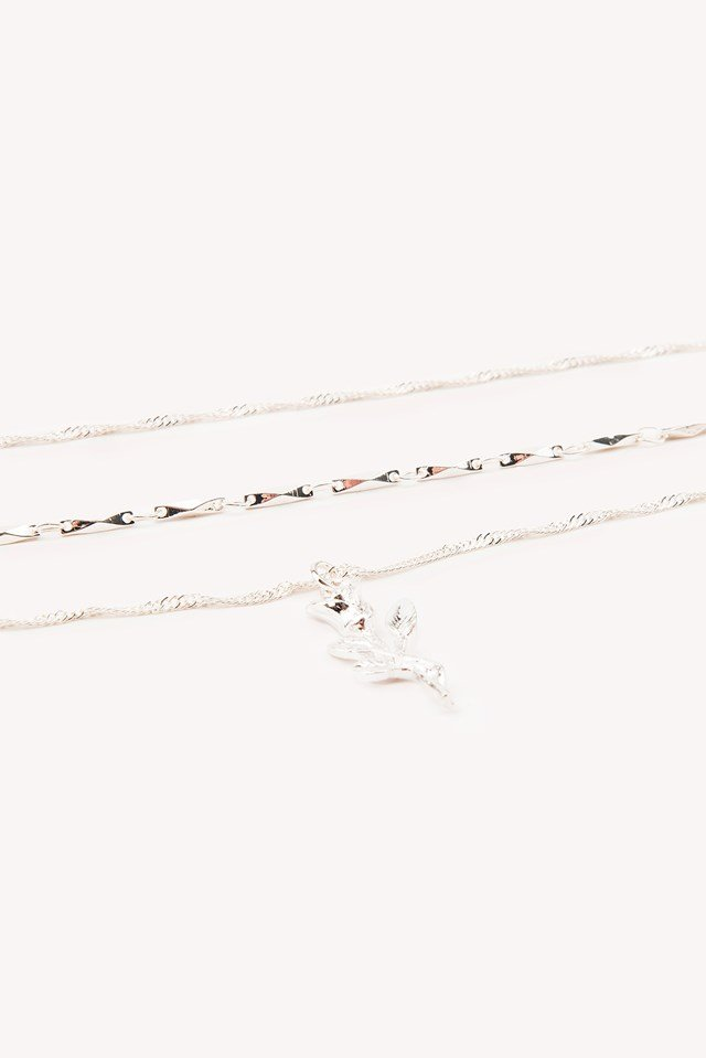 Layered Rose Necklace Silver