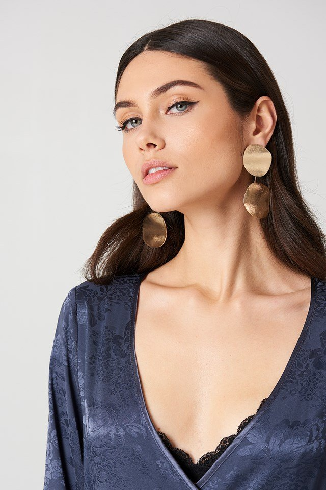 Melted Double Ring Earring Gold