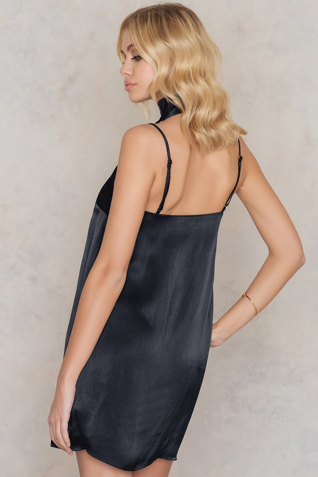 Mini Slip Dress with Scarf Black