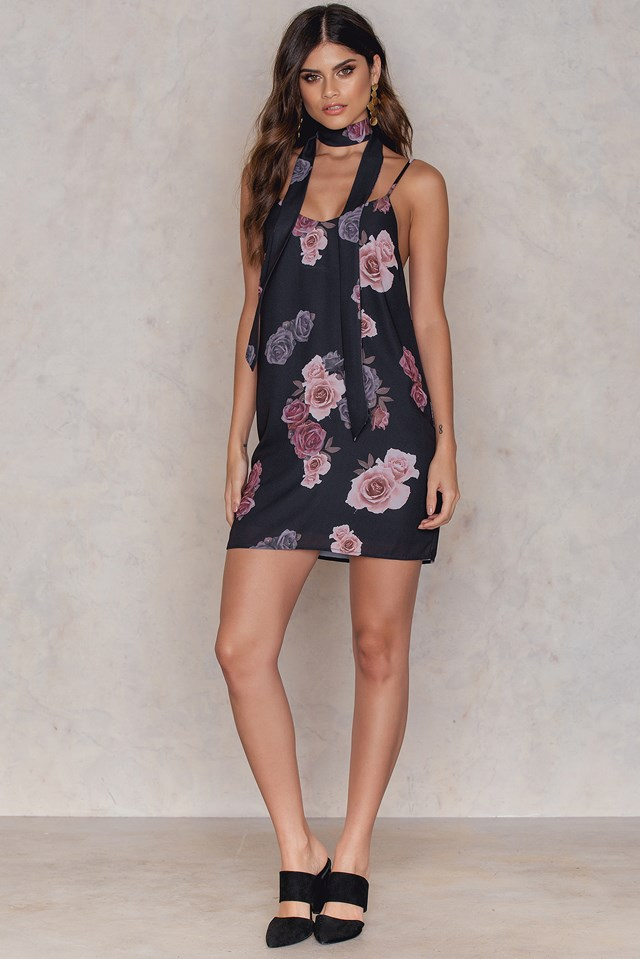 Mini Slip Dress with Scarf Dusty Roses