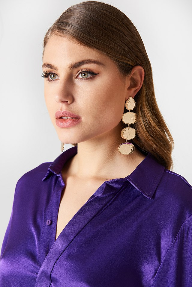 Multi Hanging Structured Earrings Gold