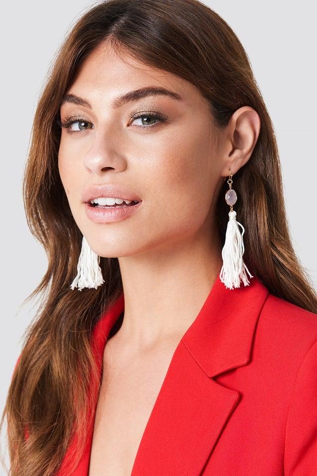 One Stone Tassel Earring Pink/White