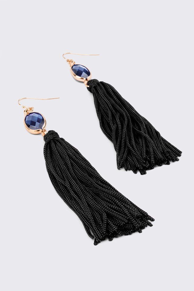 One Stone Tassel Earring Blue/Black