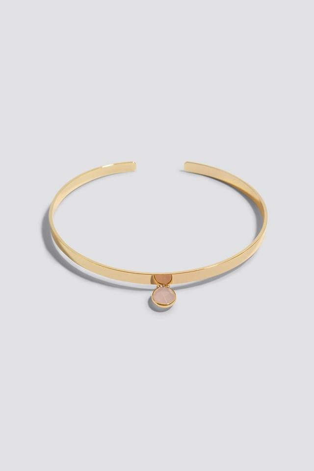 Stiff Stone Choker Gold/Pink