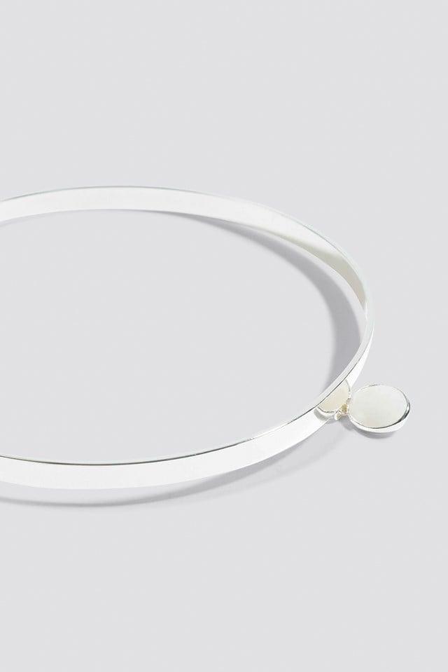 Stiff Stone Choker Silver/White
