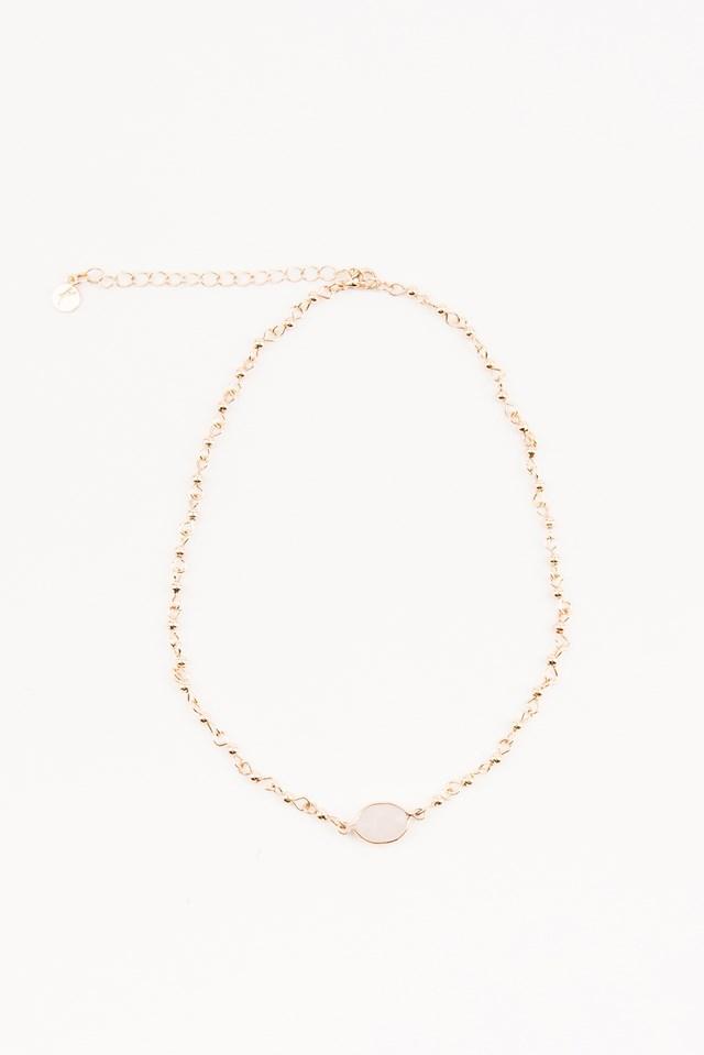 Stone Choker Gold/White