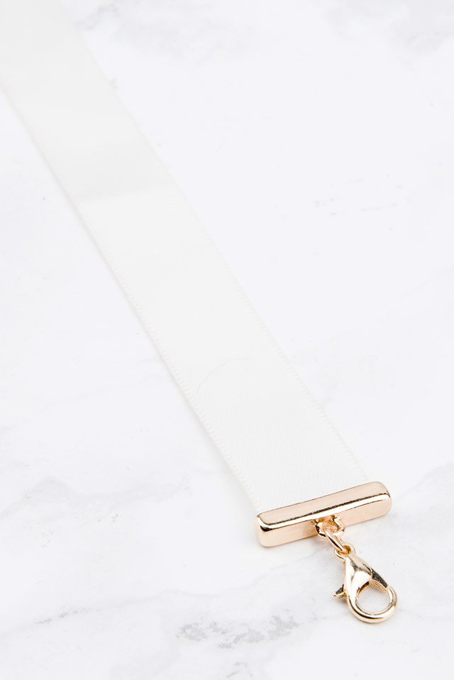 Thin Satin Choker White