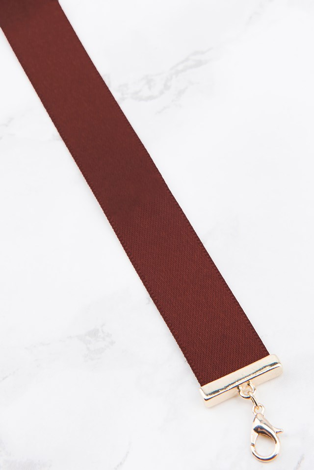 Thin Satin Choker Warm brown