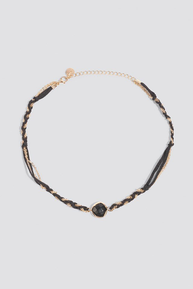 Twined Suede and Chain Choker Black