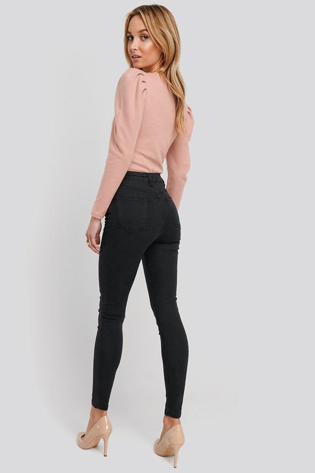 High Waist Skinny Jeans Black