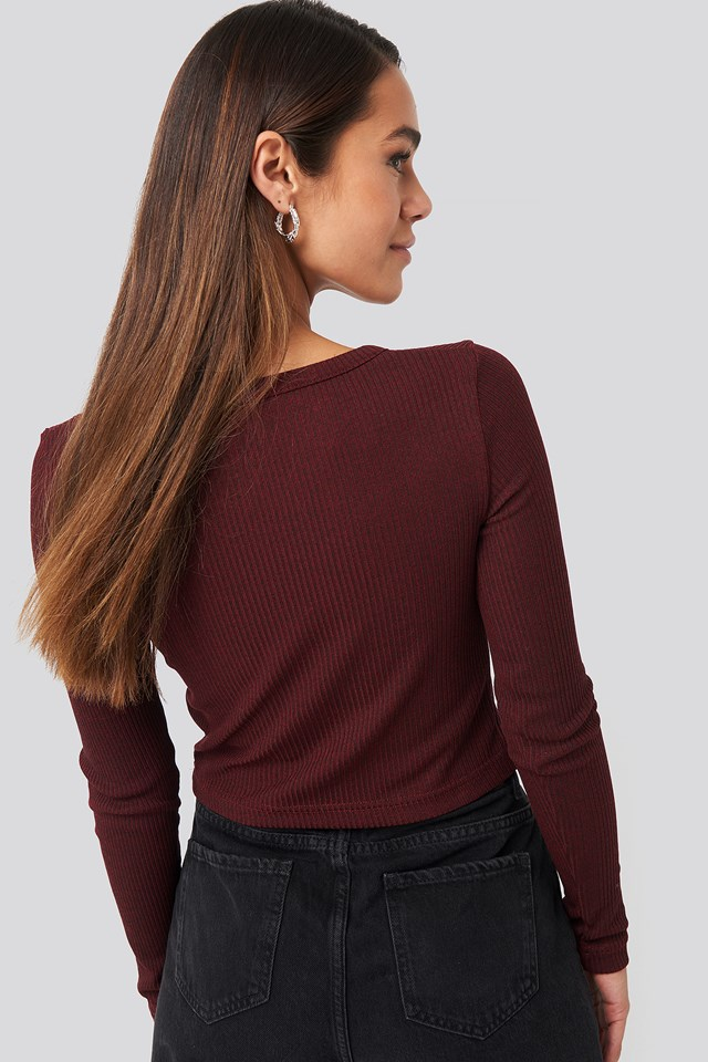 Button Detailed Knit Top Burgundy