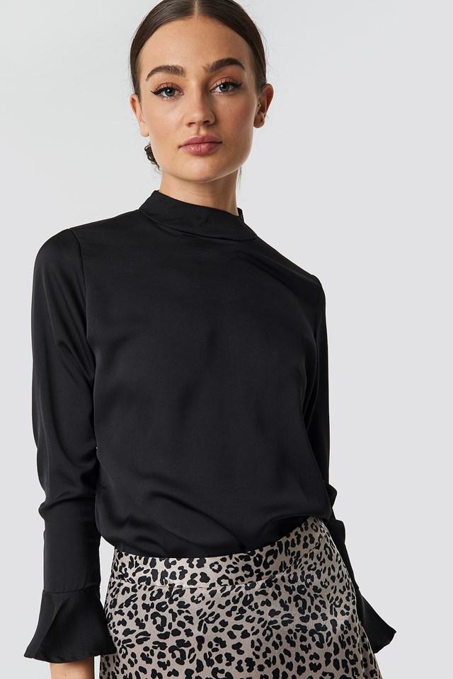 Flyover Sleeve Blouse Black