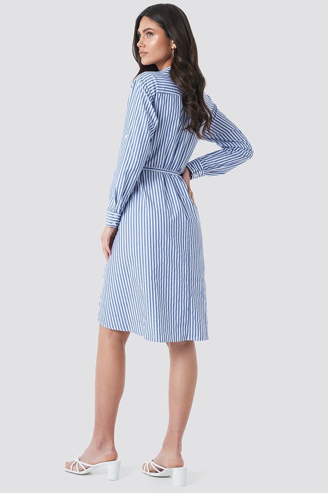 Milla Striped Midi Dress Blue