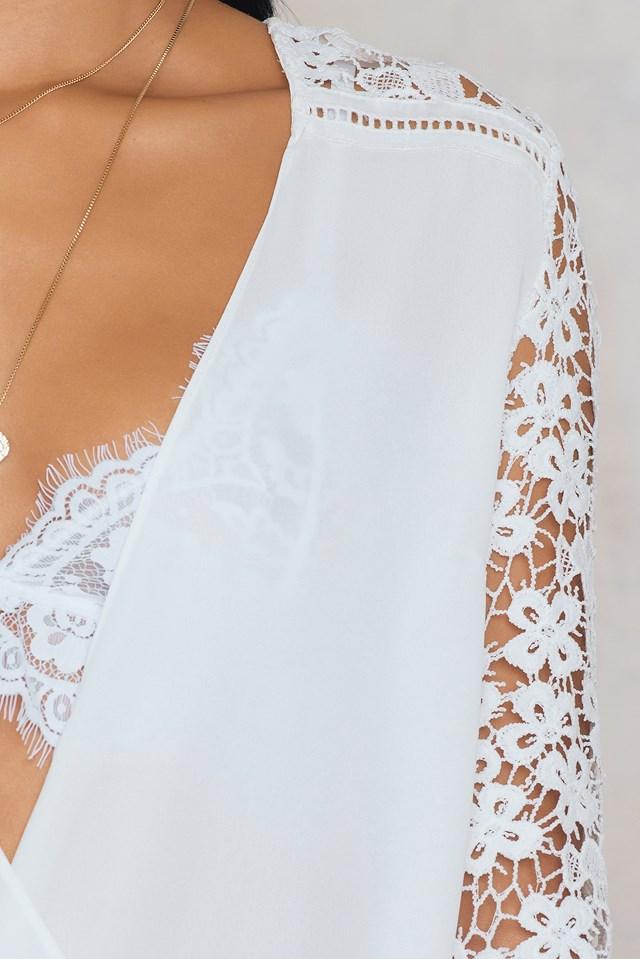 Overlap Lace Blouse White