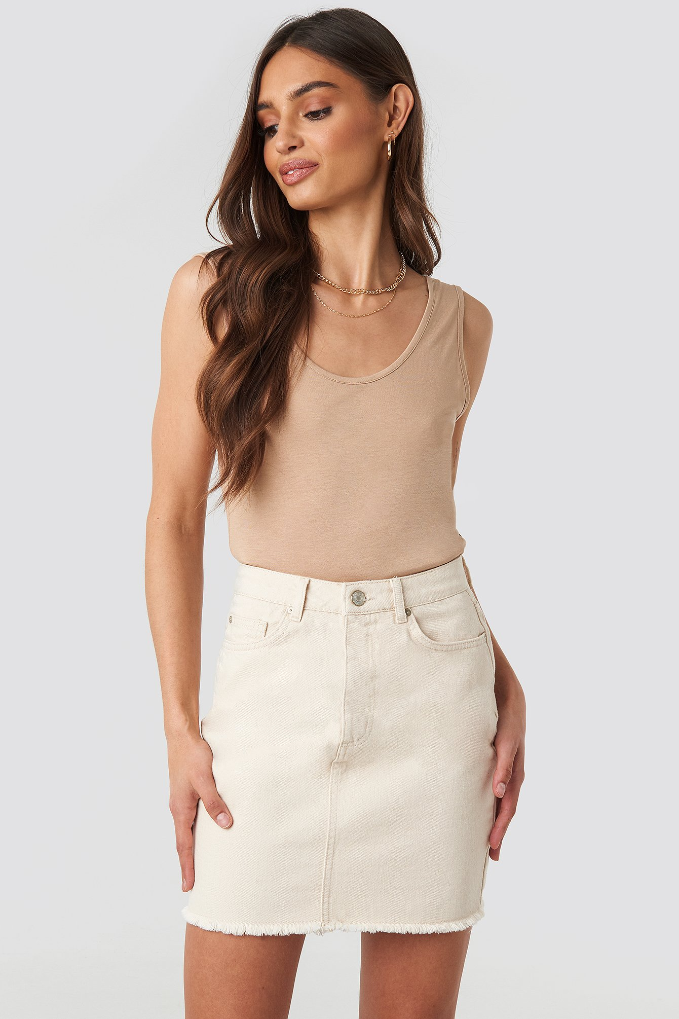 36023e578e TRENDYOL | Trendyol Raw Hem Detailed Denim Skirt - Beige | Goxip. SHOP