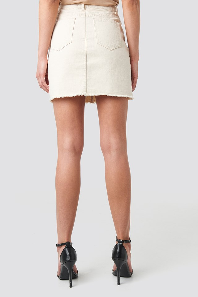 Raw Hem Detailed Denim Skirt Ecru