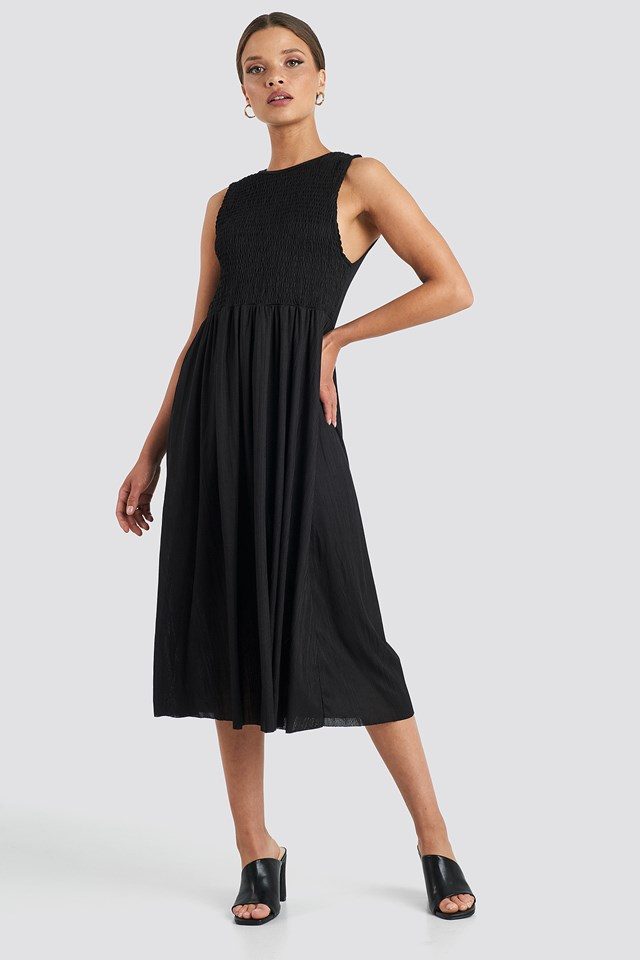 Guipure Shirred Midi Dress Trendyol