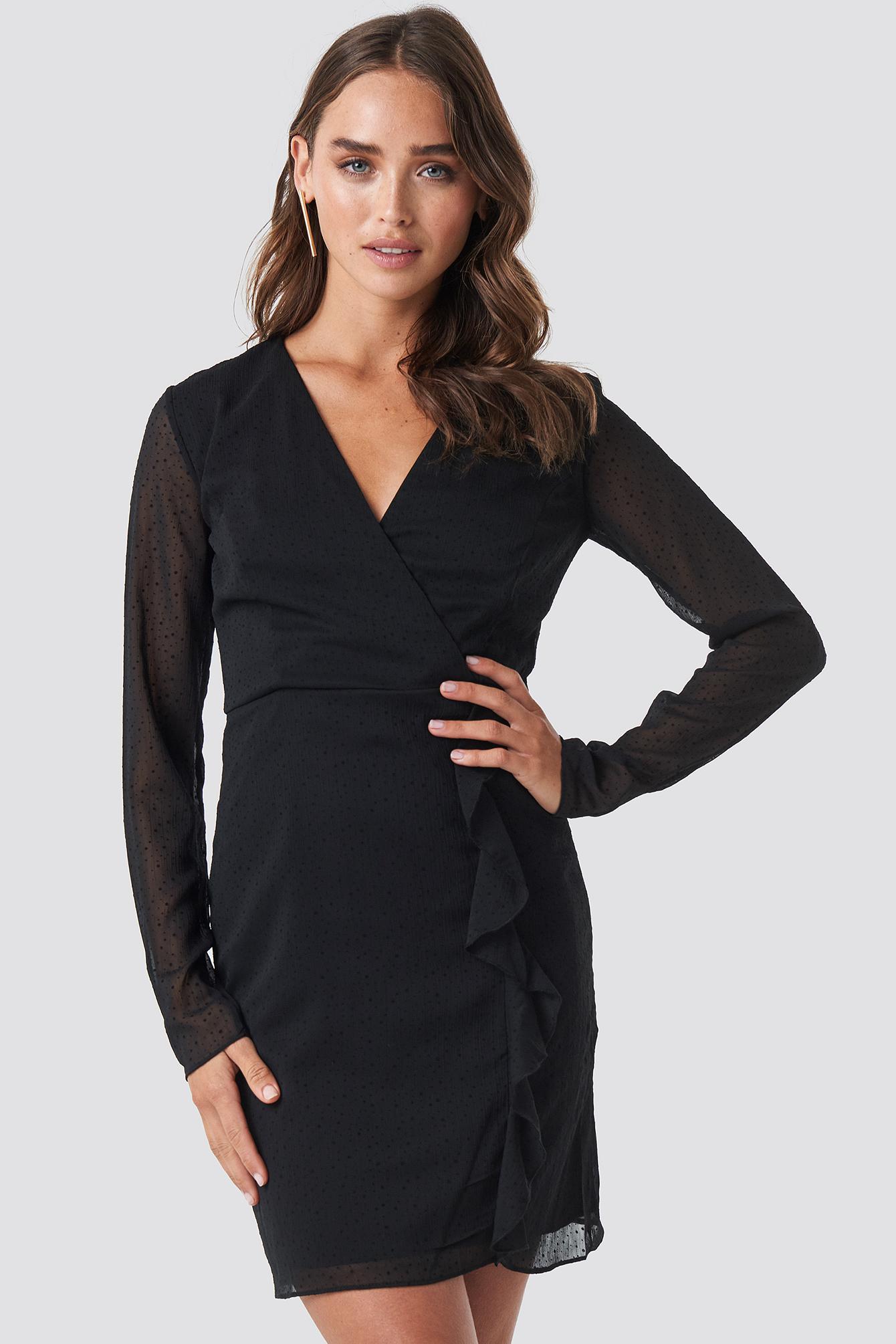 Mesh Sleeve Frilly Dress NA-KD.COM