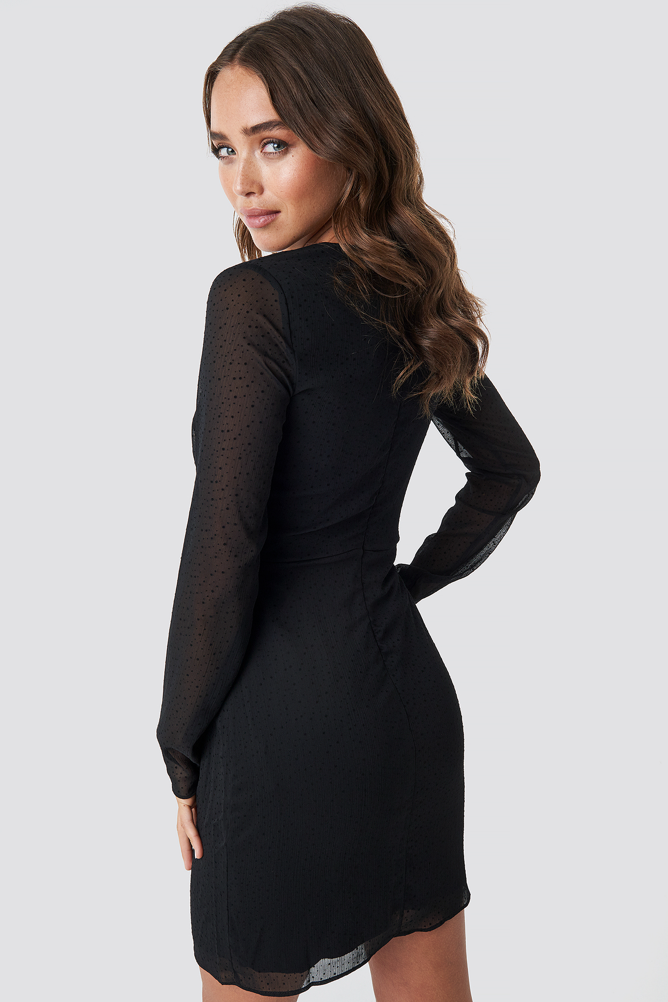 Black Mesh Sleeve Frilly Dress