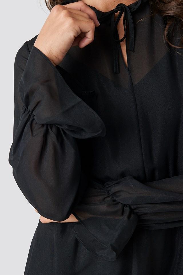Milla Pleated Mini Dress Black
