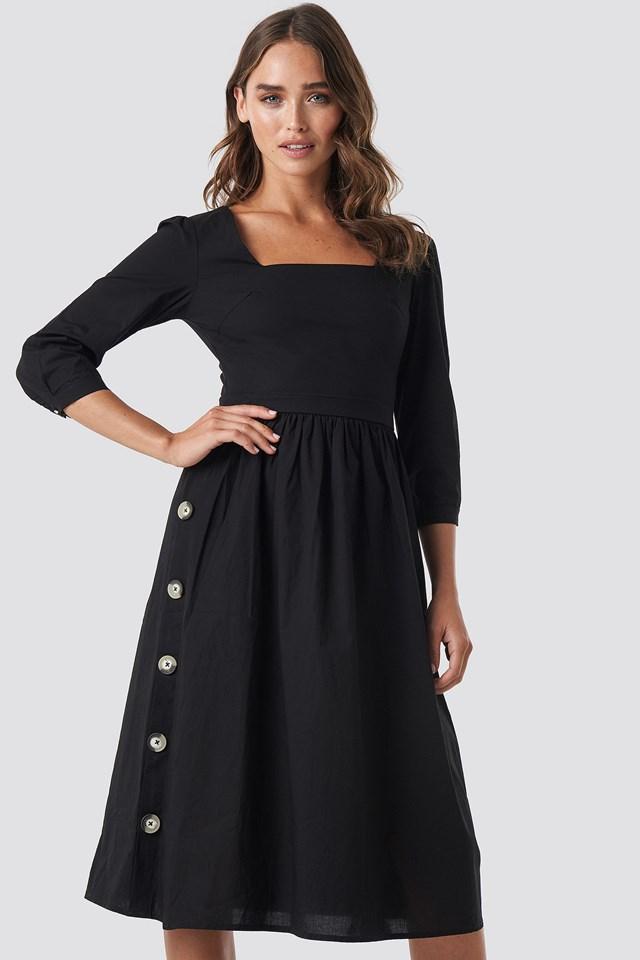 Side Buttoned Dress Black
