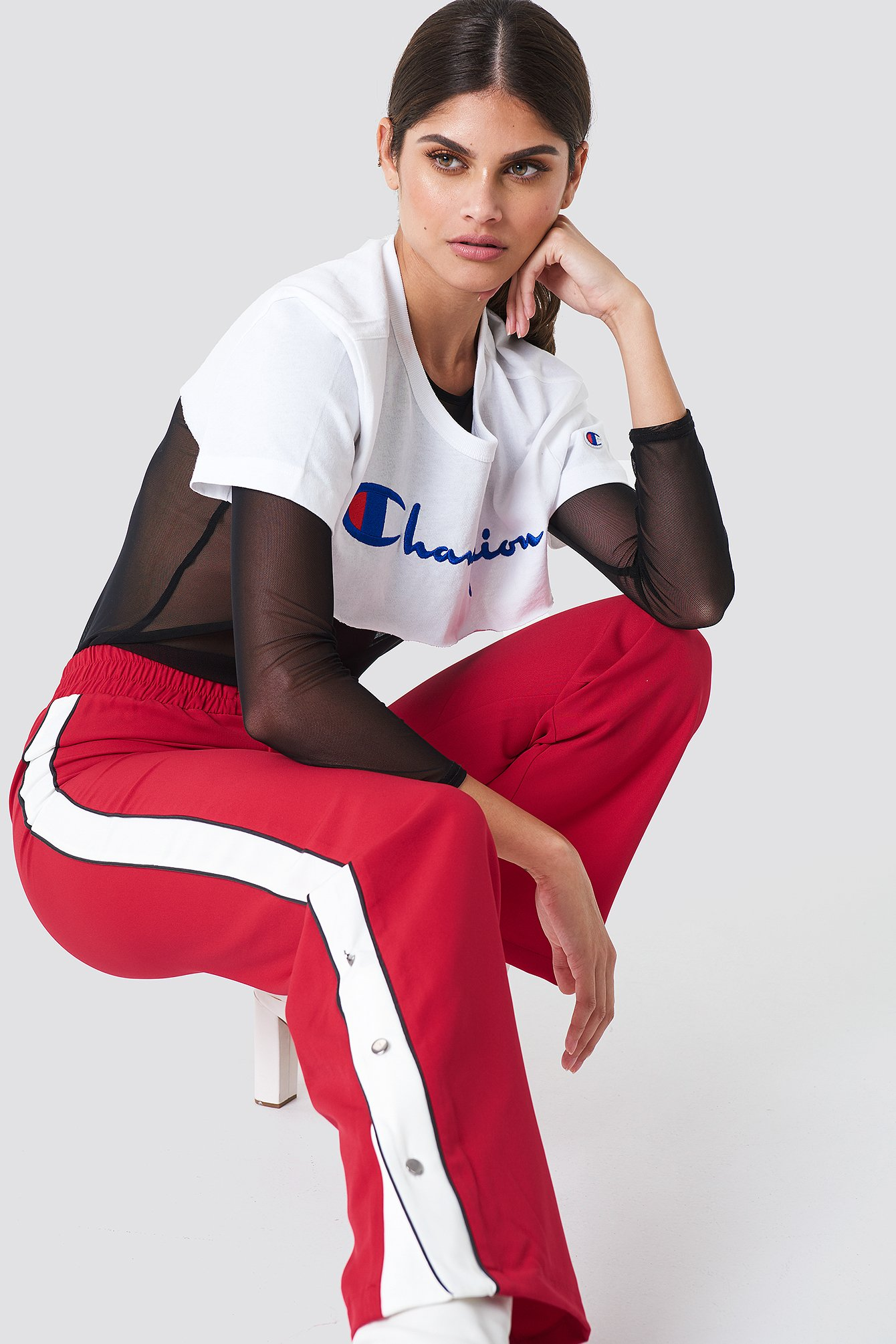 BUTTON DETAILED PANTS - RED