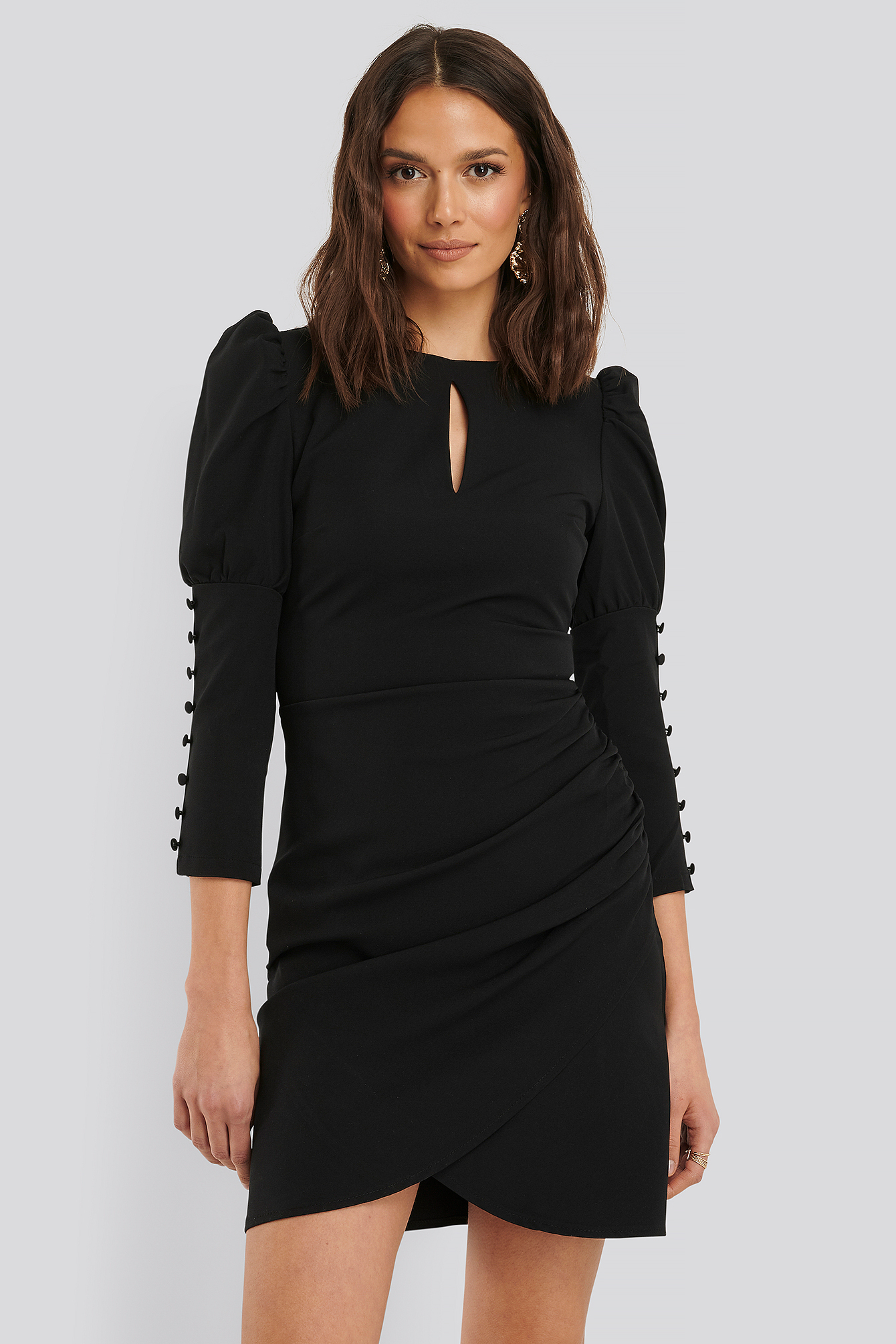 Black 3/4 Button Sleeve Mini Dress