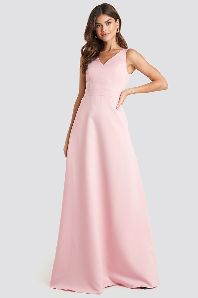 Accessory Detailed Evening Dress Dusty Rose