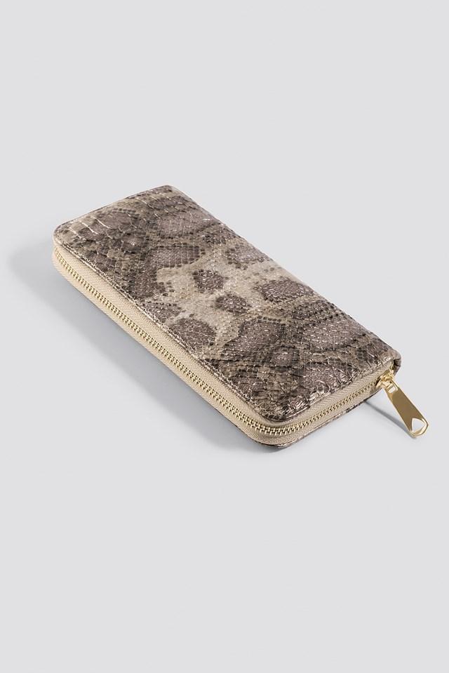 Animal Pattern Wallet Beige