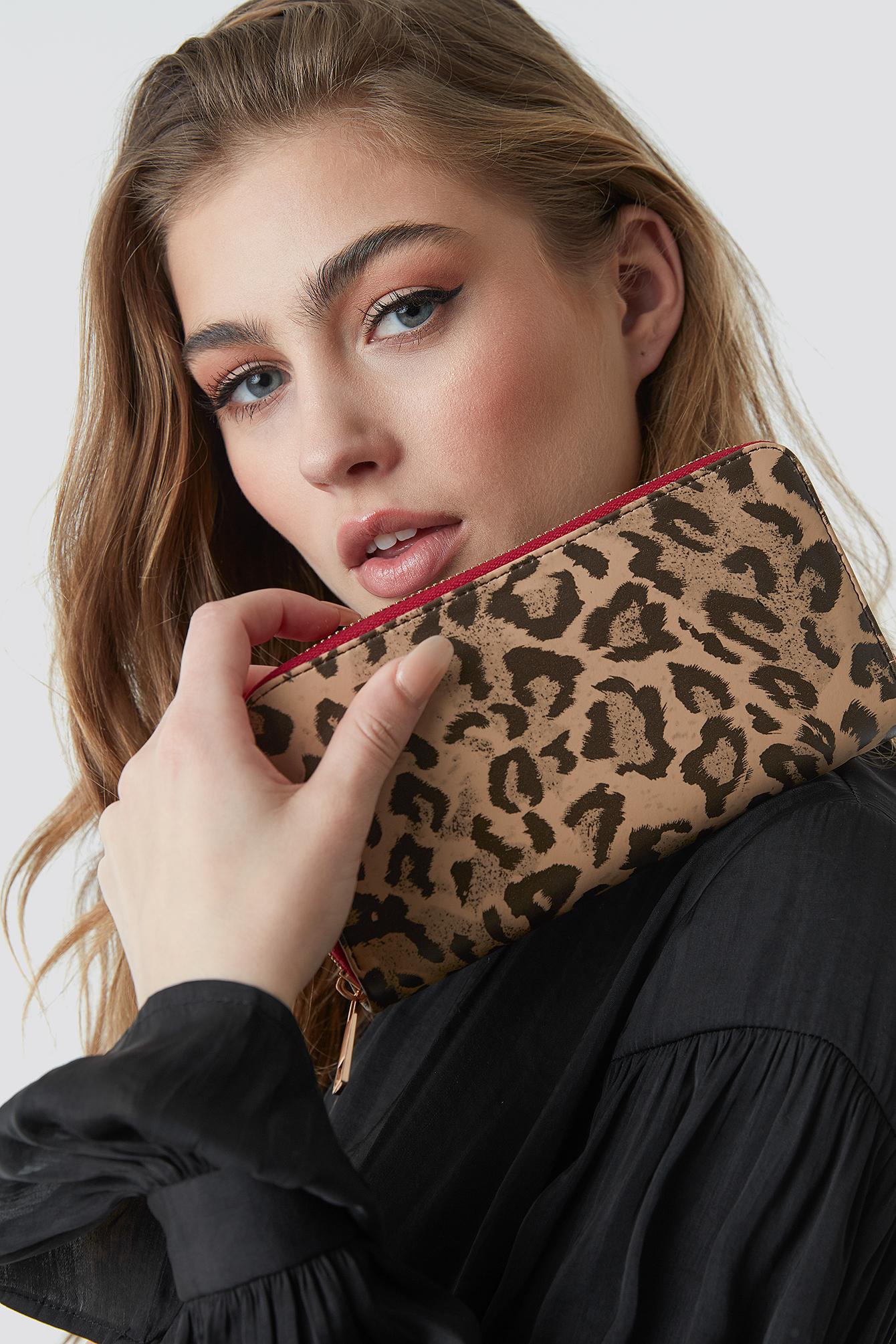 trendyol -  Animal Pattern Wallet - Brown,Beige