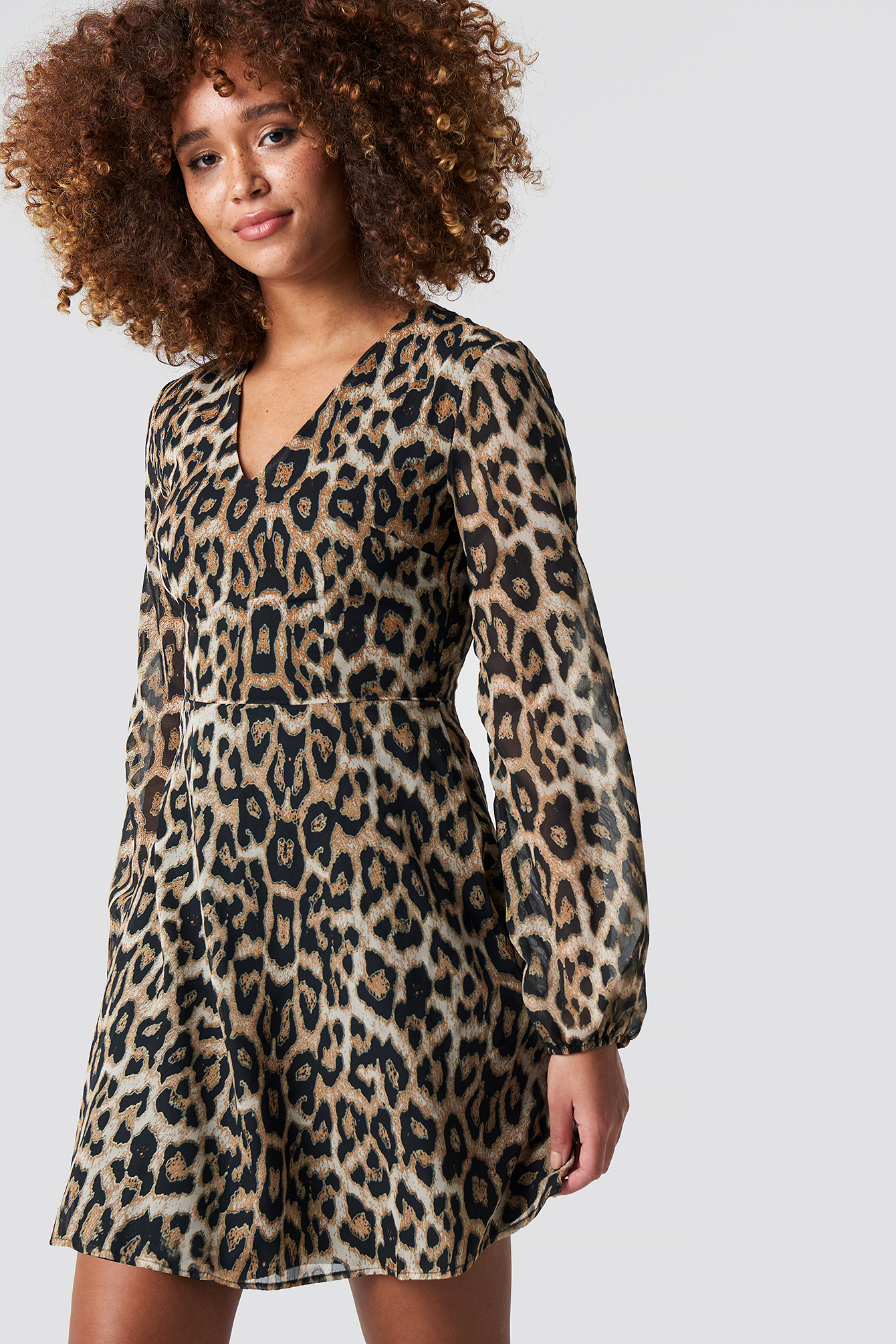 Animal Patterned Mini Dress NA-KD.COM