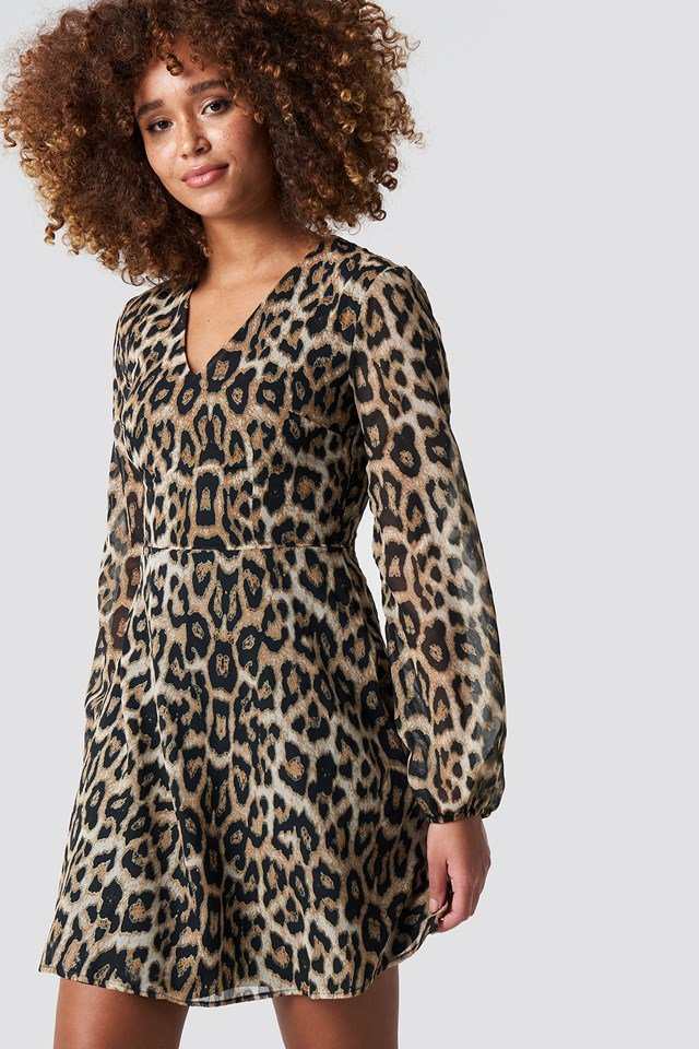 Animal Patterned Mini Dress Brown