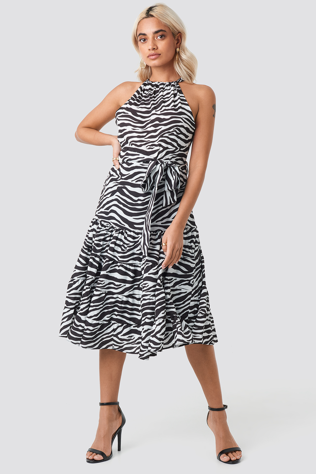 trendyol -  Animal Print Midi Dress - Black,White