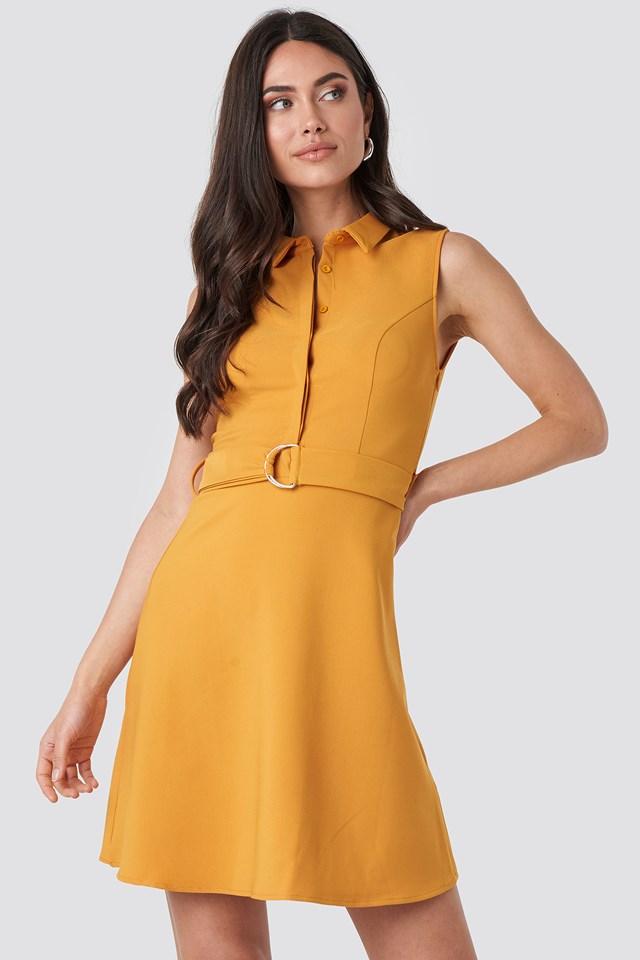 Apricot Belt Detailed Midi Dress Apricot