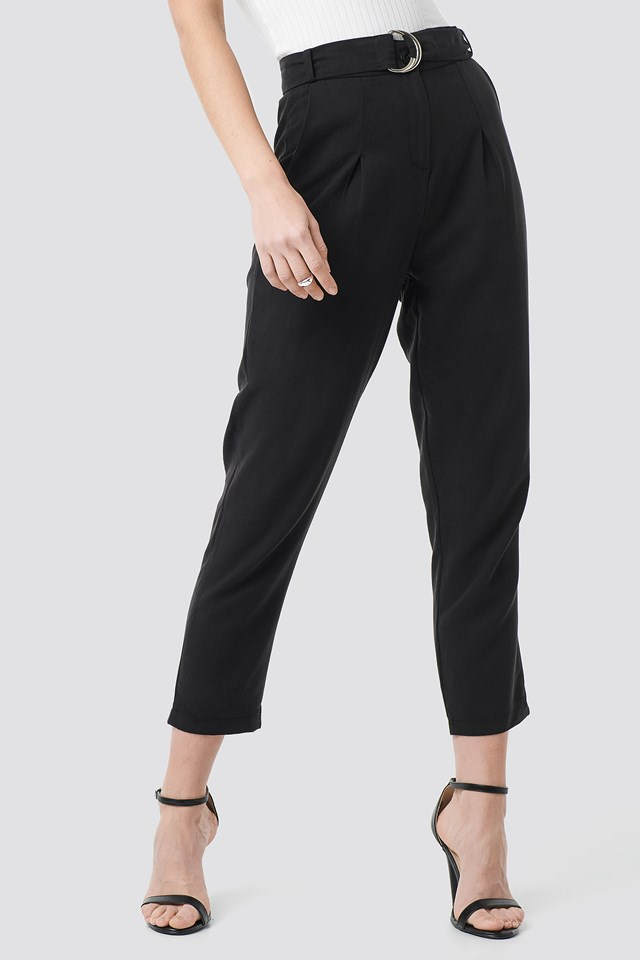 Arched Lyocell Pants Black