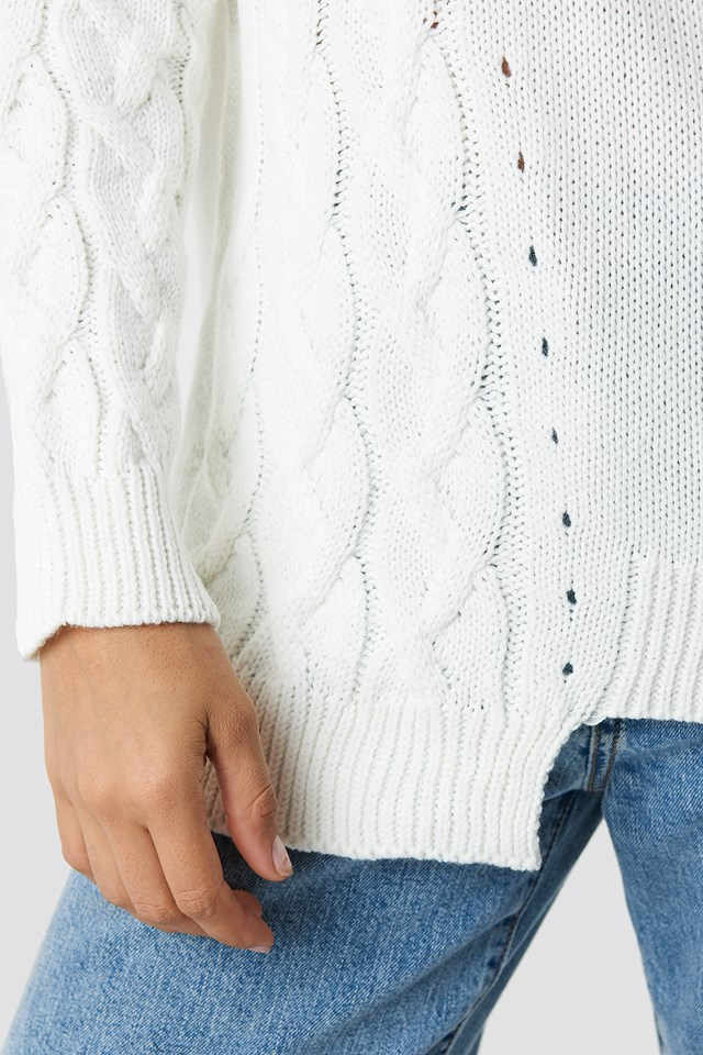 Asymmetric Detailed Knitted Sweater Ecru