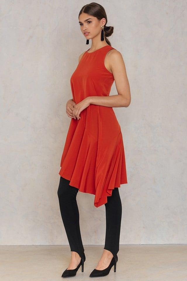 Asymmetric Frill Dress Brick