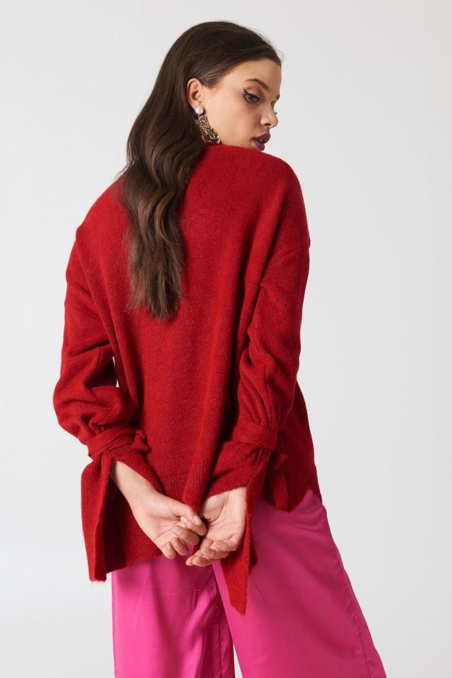 Asymmetric Hem Sweater Red