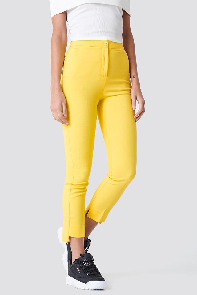 Asymmetric Hem Trousers Yellow