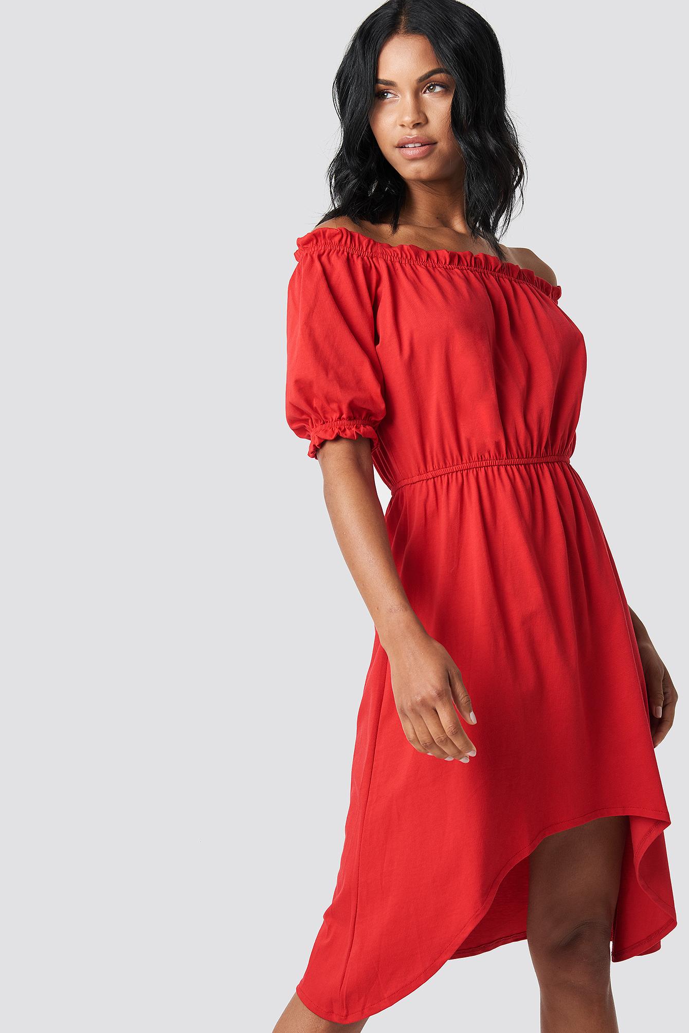 TRENDYOL ASYMMETRIC KNITTED DRESS - RED